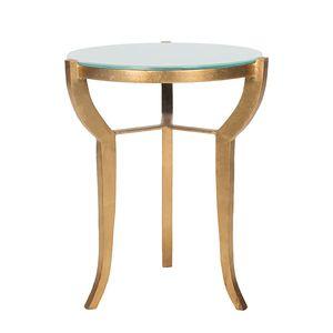 Beistelltisch Ormond - Eisen Gold/Glas Weiß, Safavieh