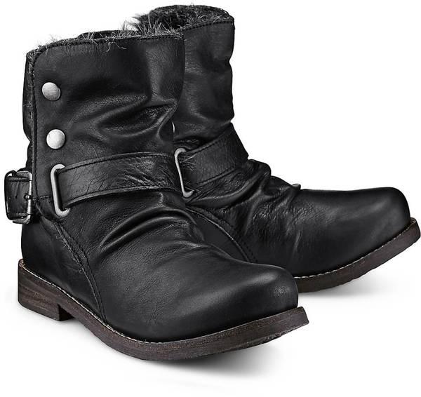 Flare & Brugg Damen Schuhe Stiefel Biker Stiefel schwarz