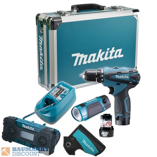makita set dk1488x akkuschrauber df330d radio mr051 lampe ml100 2x akku 10 8v 1 3ah von. Black Bedroom Furniture Sets. Home Design Ideas