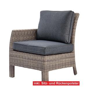 OUTDOOR Ecksessel /Eckelement mit Armlehne links und 2 Polster GALERA Kunststoffgeflecht Grau