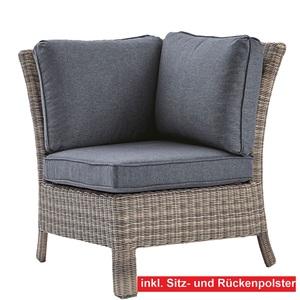 OUTDOOR Sessel /Ecksessel mit 3 Polster GALERA Kunststoffgeflecht Grau