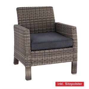 OUTDOOR Sessel /Gartensessel mit Armlehnen und Polster GALERA Kunststoffgeflecht Grau