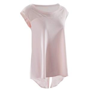 DOMYOS Dance-Shirt Kurzarm Damen blassrosa, Größe: EU 42 DE 40