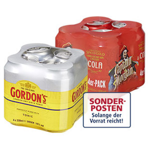 Captain Morgan Cola, Johnnie Walker Cola oder Gordon's Tonic, 4 x 0,33-l-Dose