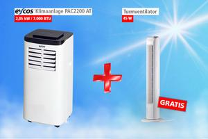 Eycos Klimaanlage PAC2200AT + Gratis Turmventilator