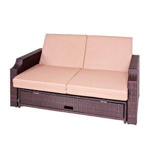 Funktionssofa Vence (2-Sitzer) - Polyrattan Braun - Inkl. Polsterkissen - Ohne Schutzhülle, Garden Pleasure