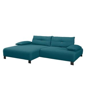 Ecksofa Cushion Shift Webstoff - Longchair davorstehend links - Stoff TBO3 petrol green, Tom Tailor