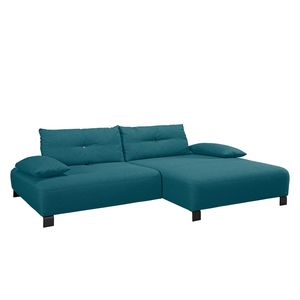 Ecksofa Cushion Shift Webstoff - Longchair davorstehend rechts - Stoff TBO3 petrol green, Tom Tailor
