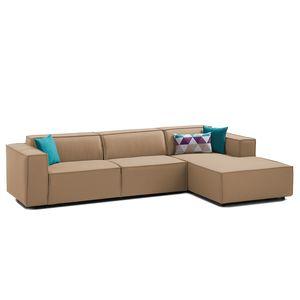 Ecksofa Kinx II Webstoff - Longchair davorstehend rechts - Keine Funktion - Stoff Osta Cappuccino, Kinx