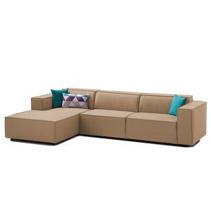 Ecksofa Kinx II Webstoff - Longchair davorstehend links - Keine Funktion - Stoff Osta Cappuccino, Kinx