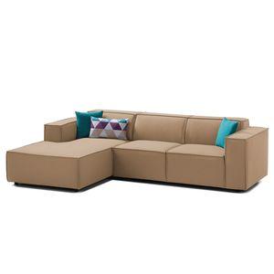 Ecksofa Kinx I Webstoff - Longchair davorstehend links - Keine Funktion - Stoff Osta Cappuccino, Kinx