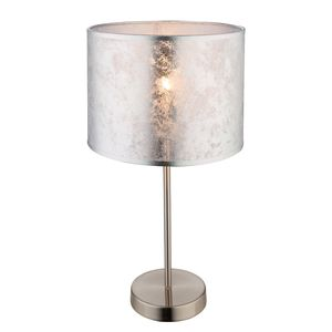 EEK A++, Tischleuchte Amy I - Webstoff / Metall - 1-flammig - Silber / Nickel, Globo Lighting