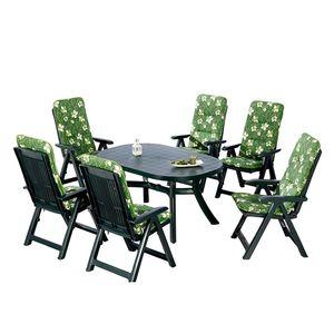 Gartenessgruppe Santiago (7-teilig) - Kunststoff - Grün, Best Freizeitmöbel