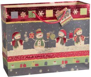 Geschenktasche - Schneemänner - 32,5 x 26 x 12,5 cm