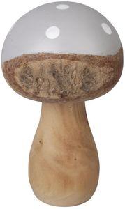 Fliegenpilz - aus Holz - 13,5 cm - in grau/braun