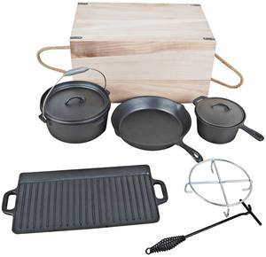 Dutch Oven Set 7-tlg. in praktischer Holztransportbox