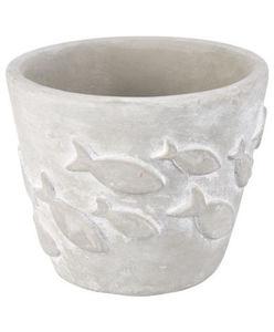 Pflanzentopf - uni, Zement, Fische - Ø ca. 11,5 cm