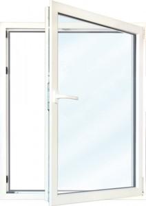 Meeth Fenster Weiß 600 x 1300 mm DR ,  System 70/3S Euronorm, 1-flg Dreh-Kipp