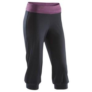 DOMYOS 3/4-Hose Yoga Damen schwarz/bordeauxrot meliert, Größe: 2XS / W26 L28