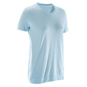 DOMYOS T-Shirt Yoga nahtlos Damen blau/grau, Größe: 2XS