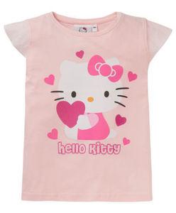Hello Kitty - T-Shirt - Herzen, Glitzer