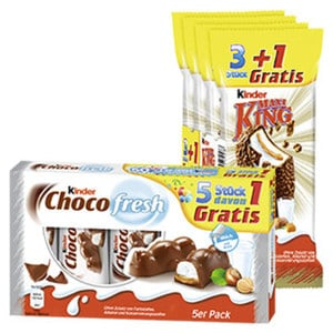 Kinder Choco fresh 4 + 1 Gratis = 105 g oder Kinder Maxi King 3 + 1 Gratis = 140 g jede Aktionspackung