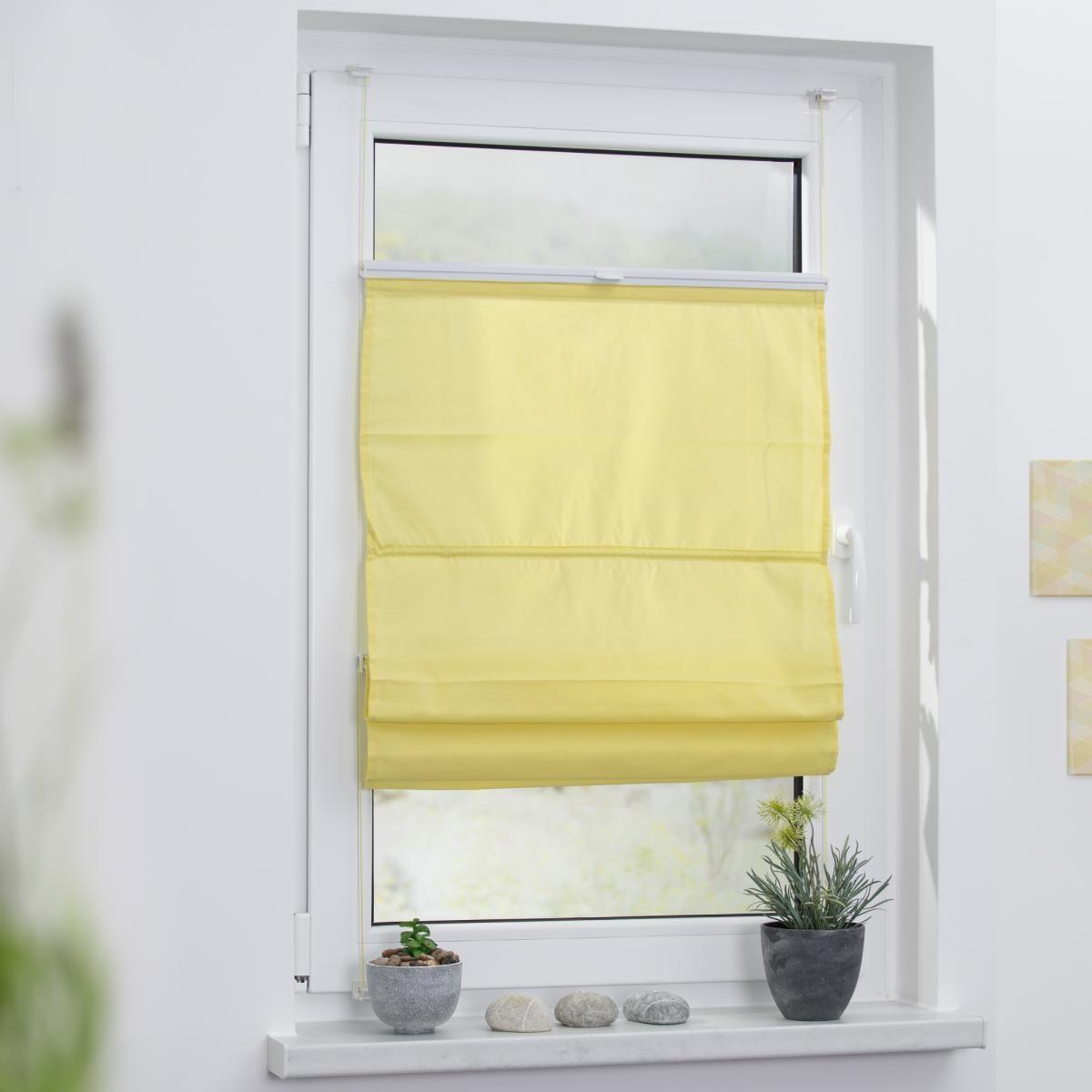 Bild 2 von Lichtblick Raffrollo Klemmfix TOP, ohne Bohren, verspannt Gelb, 110 cm x 130 cm (B x L)