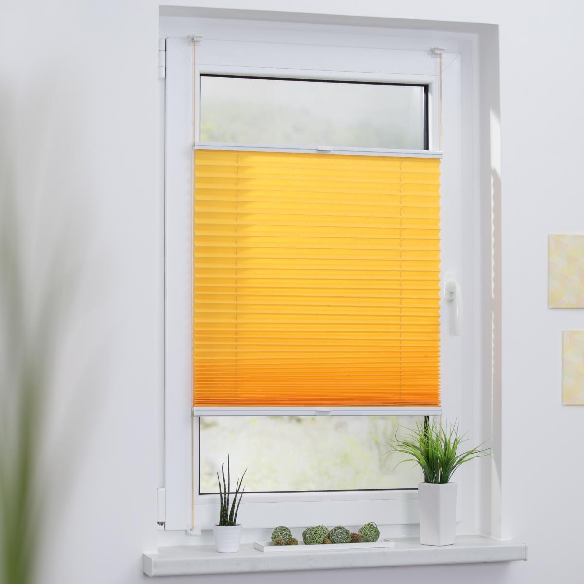 Bild 2 von Lichtblick Plissee Klemmfix TOP, ohne Bohren, verspannt Gelb, 100 cm x 130 cm (B x L)