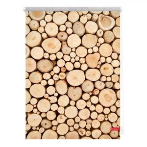 Lichtblick Rollo Klemmfix, ohne Bohren, blickdicht, Holzstapel - Braun, 120 cm x 150 cm (B x L)