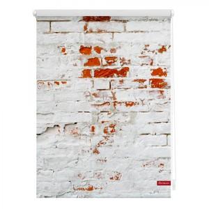 Lichtblick Rollo Klemmfix, ohne Bohren, blickdicht, Mauer - Weiß Rot, 100 x 150 cm (B x L)