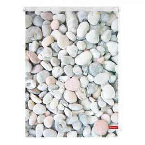 Lichtblick Rollo Klemmfix, ohne Bohren, blickdicht, Kieselsteine - Weiß Grau, 120 cm x 150 cm (B x L
