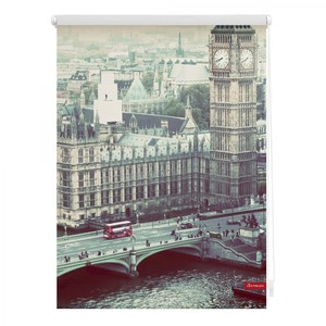 Lichtblick Rollo Klemmfix, ohne Bohren, blickdicht, London Westminster - Grau, 100 x 150 cm (B x L)