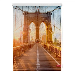 Lichtblick Rollo Klemmfix, ohne Bohren, blickdicht, Brooklyn Bridge - Orange, 90 x 150 cm (B x L)