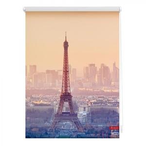 Lichtblick Rollo Klemmfix, ohne Bohren, blickdicht, Eiffelturm - Orange, 90 x 150 cm (B x L)