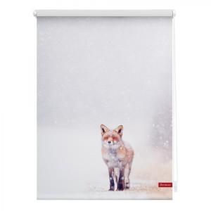 Lichtblick Rollo Klemmfix, ohne Bohren, blickdicht, Fuchs im Schnee - Weiß Rot, 90 cm x 150 cm (B x