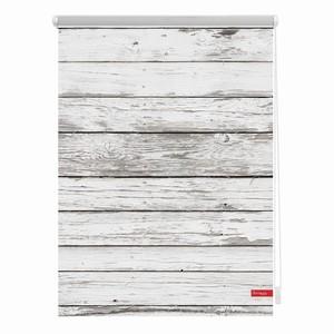 Lichtblick Rollo Klemmfix, ohne Bohren, blickdicht, Bretter-Vintage Weiß, 90 x 150 cm (B x L)