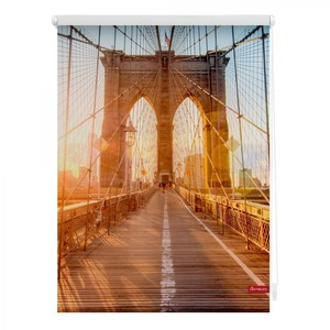 Lichtblick Rollo Klemmfix, ohne Bohren, blickdicht, Brooklyn Bridge - Orange, 80 x 150 cm (B x L)