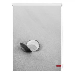 Lichtblick Rollo Klemmfix, ohne Bohren, blickdicht, Muschel - Schwarz Weiß, 90 x 150 cm (B x L)