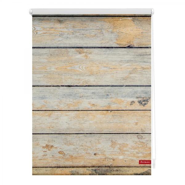 Lichtblick Rollo Klemmfix, ohne Bohren, blickdicht, Bretter Shabby - Braun, 80 x 150 cm (B x L)