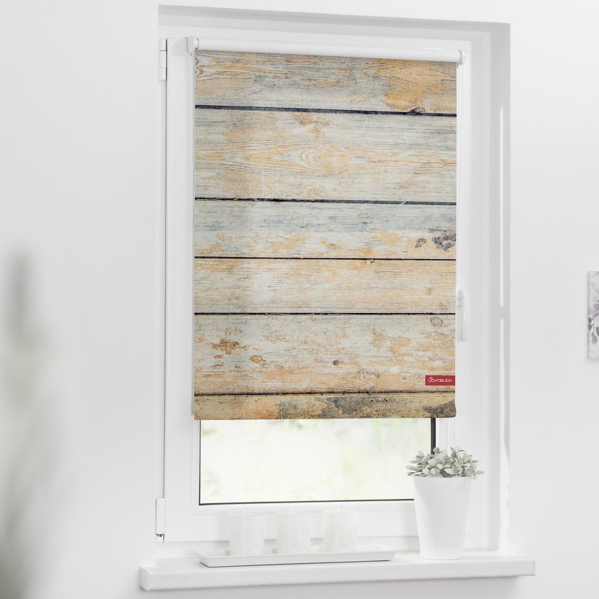 Bild 2 von Lichtblick Rollo Klemmfix, ohne Bohren, blickdicht, Bretter Shabby - Braun, 80 x 150 cm (B x L)