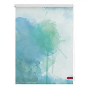 Lichtblick Rollo Klemmfix, ohne Bohren, blickdicht, Aquarell - Blau Grün, 60 x 150 cm (B x L)