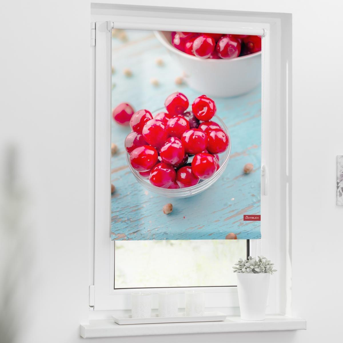 Bild 2 von Lichtblick Rollo Klemmfix, ohne Bohren, blickdicht, Kirschen - Rot, 60 x 150 cm (B x L)