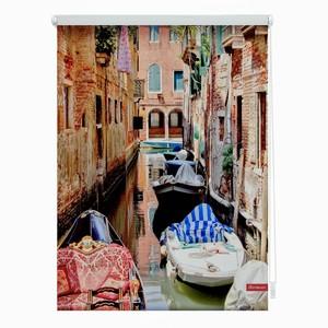 Lichtblick Rollo Klemmfix, ohne Bohren, blickdicht, Venedig Gondola - Rot, 60 x 150 cm (B x L)