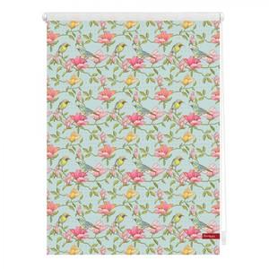 Lichtblick Rollo Klemmfix, ohne Bohren, blickdicht, Birds - Grün Pink, 60 x 150 cm (B x L)