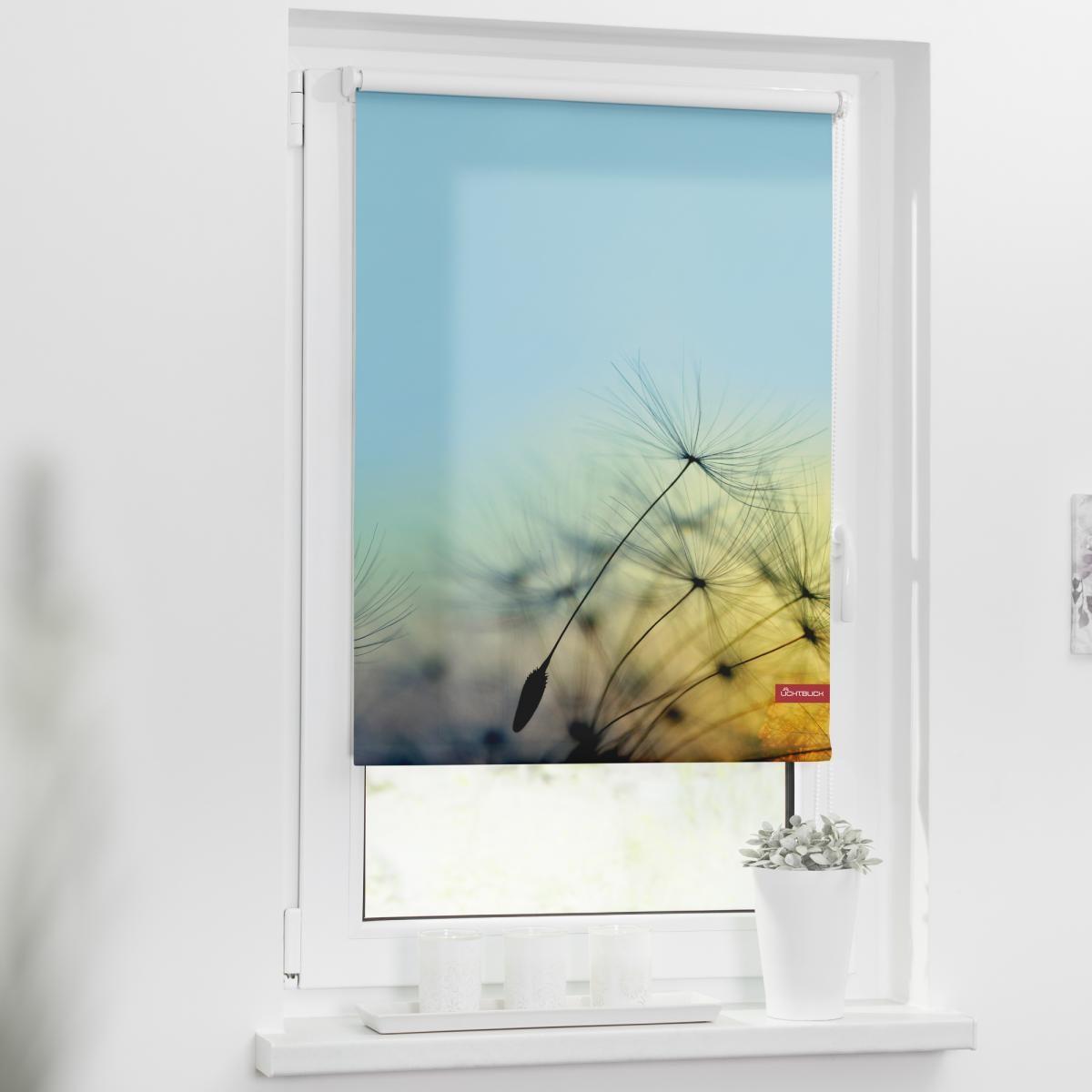 Bild 2 von Lichtblick Rollo Klemmfix, ohne Bohren, blickdicht, Pusteblume - Blau, 45 x 150 cm (B x L)