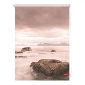 Lichtblick Rollo Klemmfix, ohne Bohren, blickdicht, Stone - Grau Rot, 60 x 150 cm (B x L)