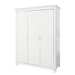 Drehtürenschrank Nina Kids - Kiefer massiv - Weiß - 142 cm, Pinolino