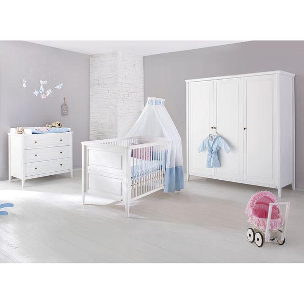 Babyzimmerset Smilla Kids (3-teilig) - Kiefer massiv - Weiß - 178 cm (3-türig), Pinolino