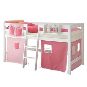 Halbhochbett Tipsi - Rosa / Pink - Weiß, Ticaa