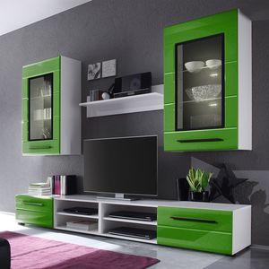 EEK A+, Wohnwand Motley II (4-teilig) - inklusive Beleuchtung - Hochglanz Grün / Weiß, loftscape